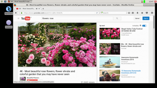 The Thinux image on the M2 includes the Mozilla Firefox browser. You can see Youtube running effortlessly on the M2 in this screenshot.